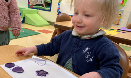 Little Hearts one-year-olds practice shape and color recognition