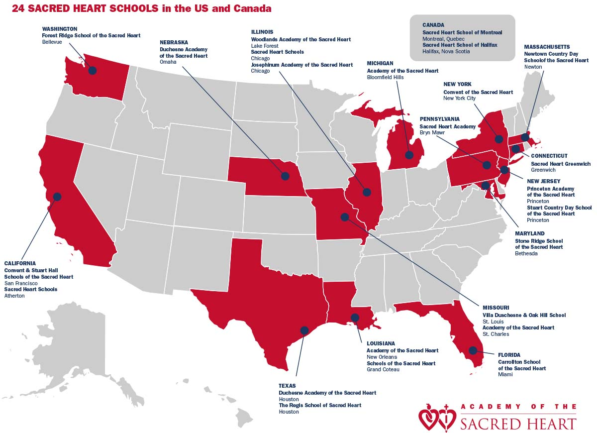 Academy Of The Sacred Heart La Network Map - Us-map-la
